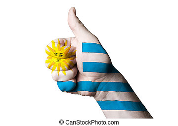 uruguay national flag thumb up gesture for excellence and achiev