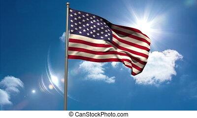 Uruguay national flag waving on flagpole on blue sky...