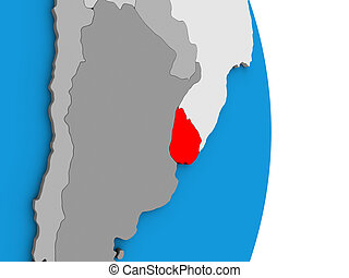 Uruguay on 3D globe