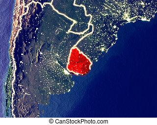 Uruguay on Earth at night