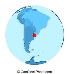 Uruguay on globe isolated