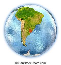 Uruguay on isolated globe