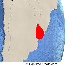 Uruguay on model of political globe