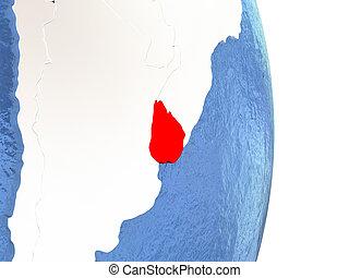 Uruguay on shiny globe with water