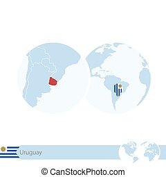 Uruguay on world globe with flag and regional map of Uruguay.