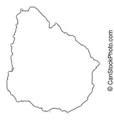 Uruguay outline map with shadow. Detailed, Mercator ...