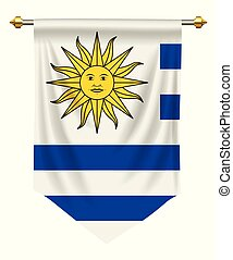 Uruguay Pennant - Uruguay flag or pennant isolated on white