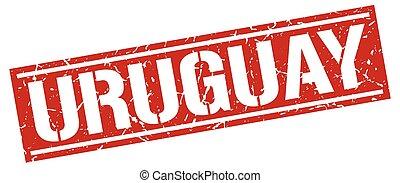 Uruguay red square stamp