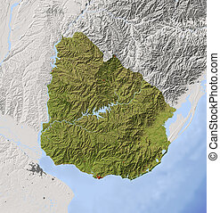Uruguay, shaded relief map - Uruguay. Shaded relief map with...