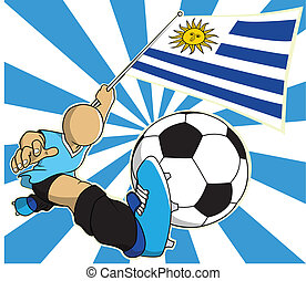 Uruguay soccer player vector cartoon in eps10 - Uruguay...