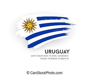 uruguay, spazzola, isolato, vettore, disegno, colpo, ...