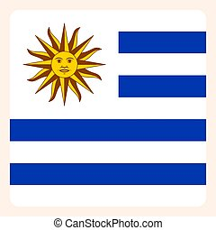 Uruguay square flag button, social media communication sign,...
