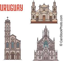 Uruguay tourist attraction, architecture landmarks. Church...