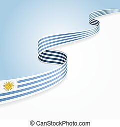 Uruguayan flag background. - Uruguayan flag wavy abstract...