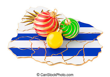 Uruguayan map with colored Christmas balls. New Year and Christmas holidays concept, 3D rendering