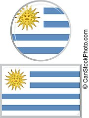 Uruguayan round and square icon flag.