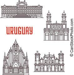 Uruguayan travel landmarks thin line icon