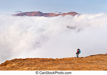 urwiska, góry, plecak, ostrze, człowiek