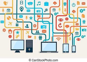 urządzenia, towarzyski, media, połączenie, pojęcie