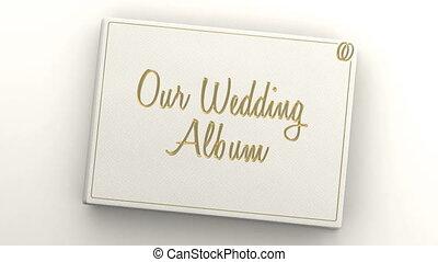 urządzenia wzywające do telefonu, czysty, album, ślub