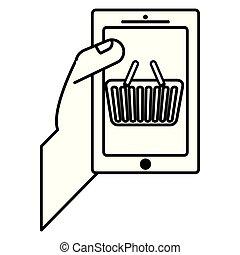 urządzenie, kosz, smartphone, zakupy