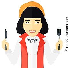 usługiwanie, kobieta, głodny, jadło.