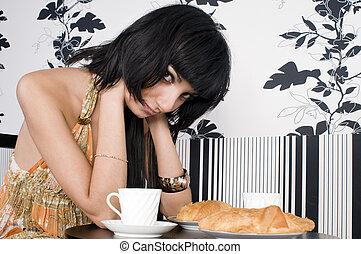 usługiwanie, ktoś, kawiarnia