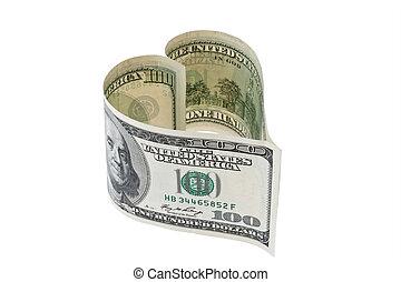 u.。s.。, ドル, 手形, 中に, 中心の 形