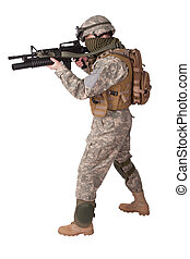 u.。s.。, 軍隊, infantryman, 白, 背景