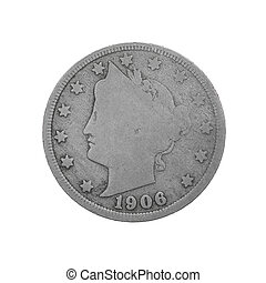 US 1906 Liberty Nickel - American Five Cent Coin. Isolated on white