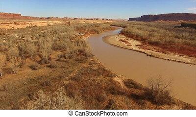 US 191 Bluff Road San Juan River Sand Island Utah - Aerial...