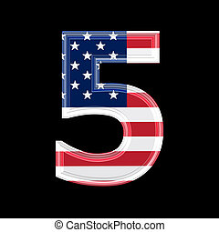us 3d digit isolated on black background - 5