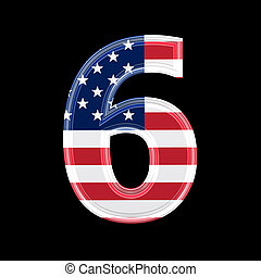 us 3d digit isolated on black background - 6