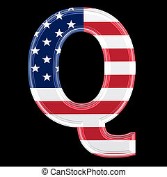 us 3d letter isolated on black background - Q