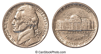 US 5 cent coin