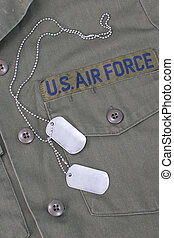us air force iniform with blank  dog tags