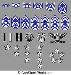 US Air Force rank insignia for officers and enlisted in vector format