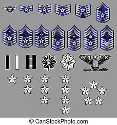 US Air Force rank insignia for officers and enlisted in...