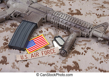 us air force uniform and weapon concept background