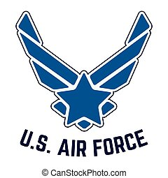 T-shirt print design. U.S. Air Force tshirt stamp. Printing and badge applique label t-shirts, jeans, casual wear. Vector illustration.