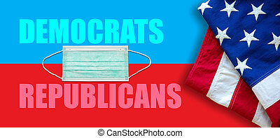 US America elections 2020, COVID 19. USA flag and medical masks on red blue background.