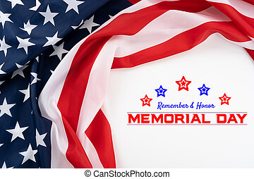 US American flag on white background. For USA Memorial day,  Memorial day. Top view with memorial day text.
