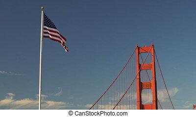 US American Flag Waving Golden Gate Bridge National Recreation Area
