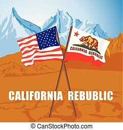 US and California state flags fluttering on death valley