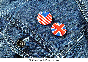 US and UK Buttons on a Denim Jacket - Stars and Stripes and...