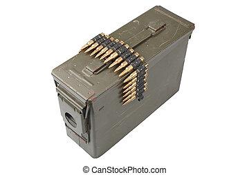 US Army Ammo Box with ammunition belt isolated on white ...
