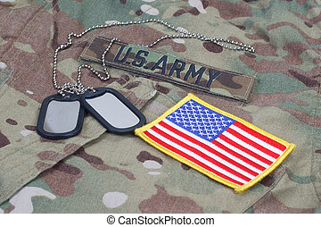 us army camouflaged uniform with US flag patch and blank dog...