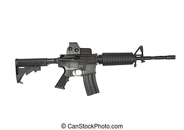 US Army carbine with ACOG Gunsight isolated on a white background