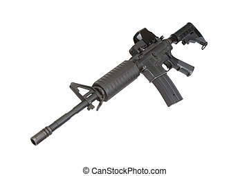 US Army carbine with Advanced Combat Optical Gunsight isolated on a white background