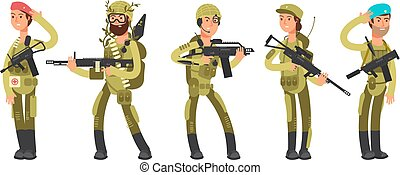 Us army cartoon man and woman soldiers in uniform. Military concept vector illustration